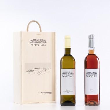 Caixa madeira c/duas Garrafas de Vinho (Branco + Rosé)