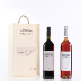 Caixa madeira c/duas Garrafas de Vinho (Tinto + Rosé)